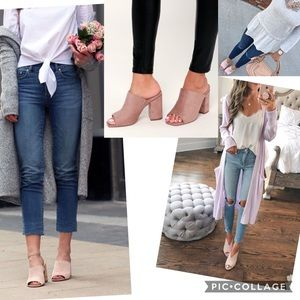 Dusty pink mules block heels peep toe clogs